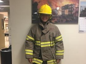 Trying a Firefighting Uniform