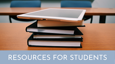"a stack of books with an ipad on top and the text ""resources for students"""