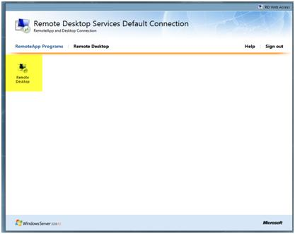 Remote Desktop - New Term Server