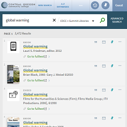 Screenshot of the Barber Library and Summit catalog