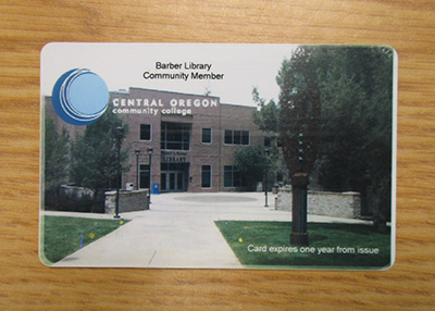 Photo of a Barber Library community patron card