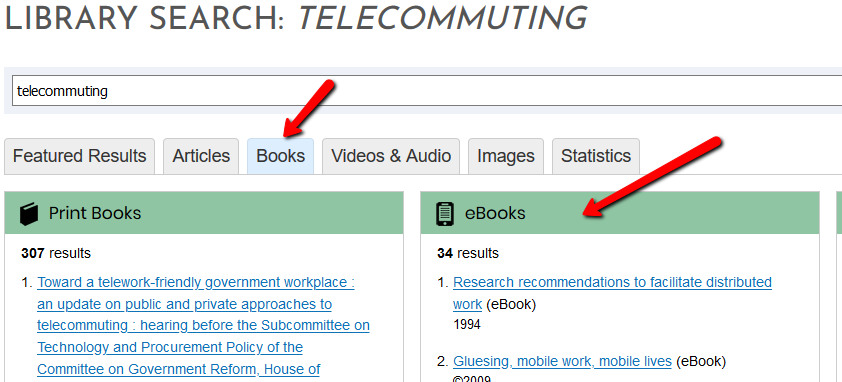 The books tab of the Barber Library Search results for the keyword telecommuting