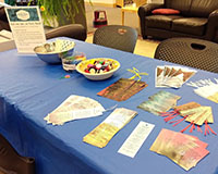 Photo of the craft table for Poetry Month at Barber Library