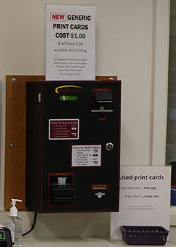 Pay-to-Print vending machine in Barber Library