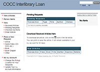 Screenshot of the Interlibrary Loan website