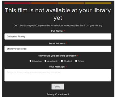 Image of the Kanopy video request form