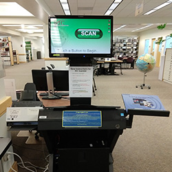 Photo of the KIC BookEdge scanner in Barber Library
