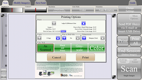 Select the printer and options and tap Print
