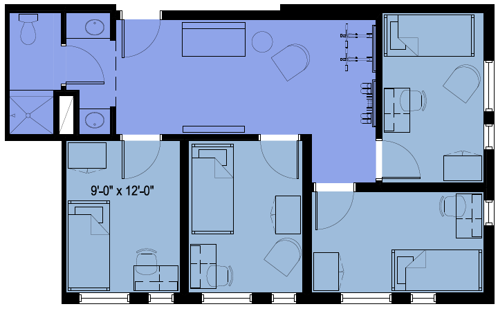 Room plan home design for Quad home plans