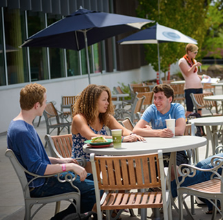 Students dining on patio