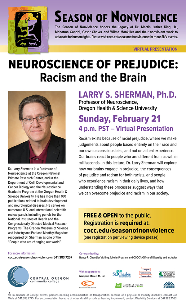 Headshot of Dr. Larry Sherman on event poster.